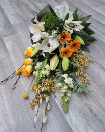 Hand Tied Sheaf Design - Ivory - Yellow - Lily - Rose - Germini