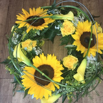 Wreath Display - Yellow Sunflower And Calla Lily