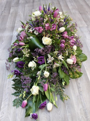 Casket Spray - Mixed Purple Lilac And Ivory Flowers - Wild Country Design