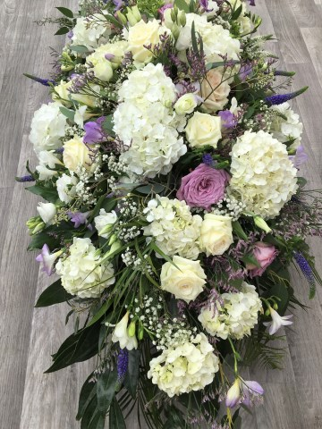 White and Lilac Casket Spray - Hydrangea - lilac Rose -  White Rose - Purple Veronica - Freesia