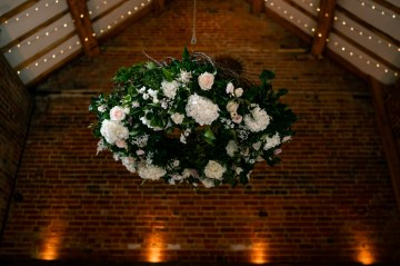 Large Hanging Floral Display - Hanging From Pulley At Shustoke Farm Barn