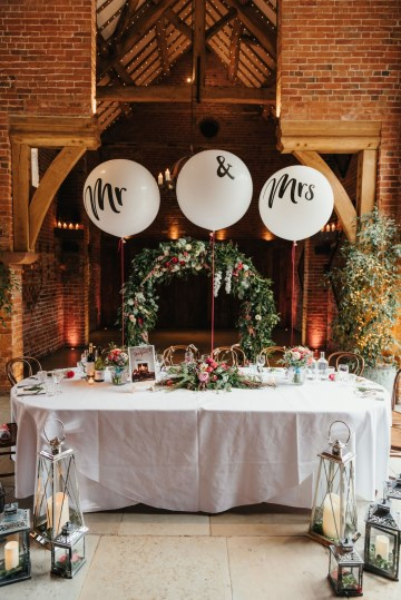 Top Table styling - Moongate floral display- picture backdrop- shustoke farm barns
