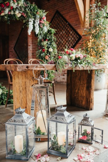 Registrar Table styling - silver lanterns - moongate- floral design - petals - styling at shustoke farm barns