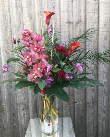 Corporate Vase Display - Office  Flowers - Autumnal Theme - Cymbidum Orchid - Calla Lilly - Clematis - Dianthus - Palm