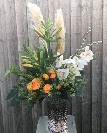 Corporate Vase Display - Office  Flowers - Autumnal Theme - Cymbidum Orchid - Spray Rose - Pampas Grass - Asiatic Lilly