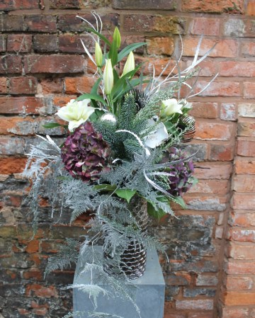 Corporate Vase Display - Office  Flowers - Winter Theme - Lillies - Hydrangea - Trailing Silver Fern - Spruce - lobby flowers