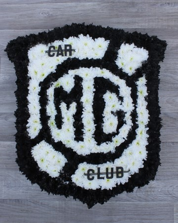 Custom MG Car Club Emblem funeral tribute design