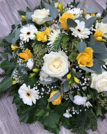 yellow and white posy display - funeral tribute posy deign - ivory rose -germini gypsophilia - yellow freesia rose - spray carnation